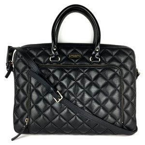 KATE SPADE Black Quilted Leather Laptop Bag